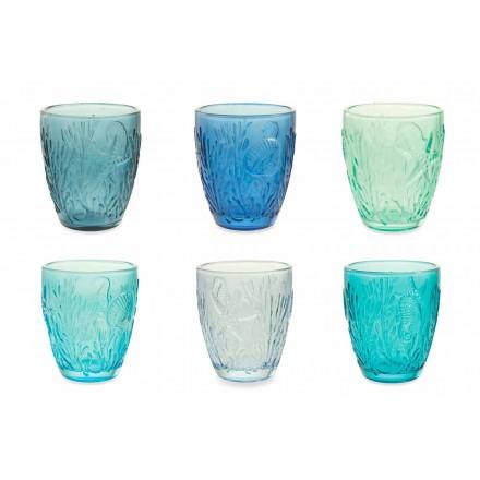 Moderne blåfarvede briller 12 stk vand Service - Mazara