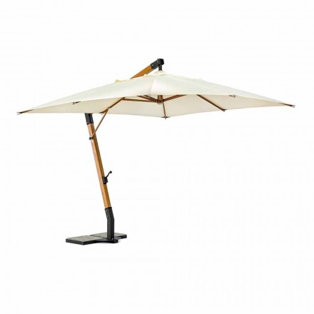 Udendørs paraply i træ og Ecru 3x4 polyester, Homemotion - Passmore