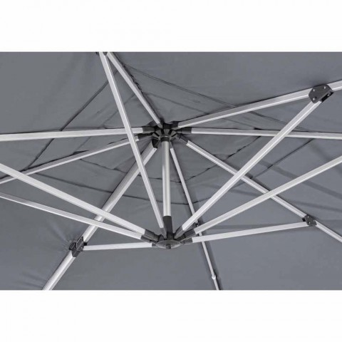 4x4 haveparaply med mørkegrå klud og anodiseret struktur - Daniel