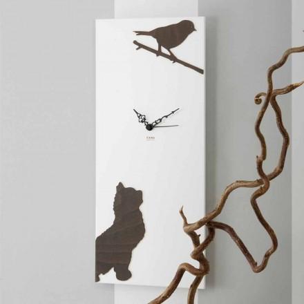 Hvid vægur med trædyrdekorationer Moderne design - spænding