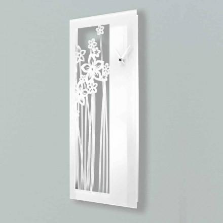 Vægur i moderne rektangulært design i hvidt pleksiglas - Elara
