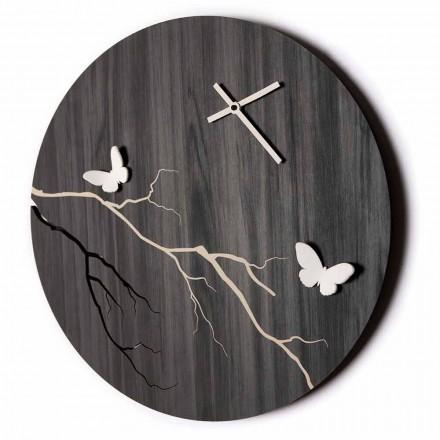 Rundt design vægur i lasergraveret træ og 3D sommerfugle - Farfo