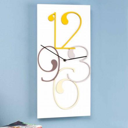 Vægur farvet og hvidt træ rektangulært moderne design - matematik