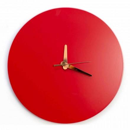 Rød vægur med italiensk rund og moderne design i træ - Callisto