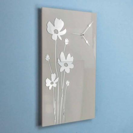 Rektangulær brun og pleksiglas design vægur - Silene
