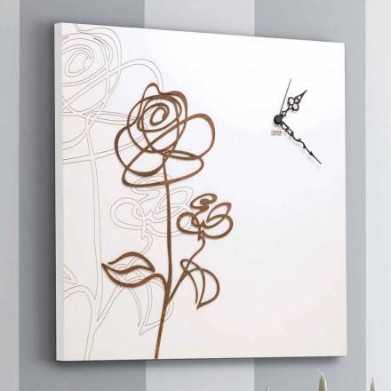 Hvid firkantet vægur med moderne rosedekoration - snedrop