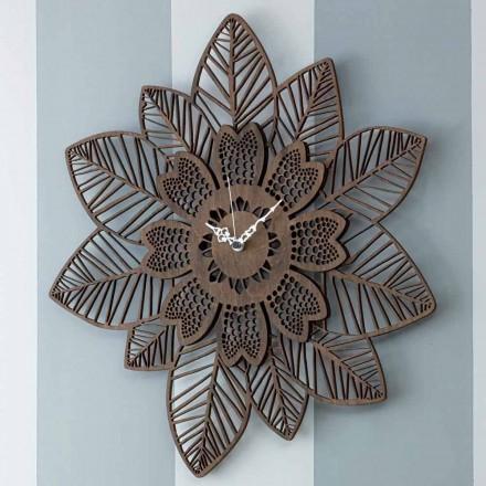 Vægur i lyst eller mørkt træ med et moderne blomsterdesign - Aquilegia