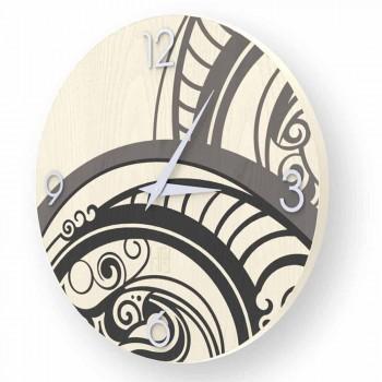 Adro abstrakt design væg ur lavet af træ, lavet i Italien