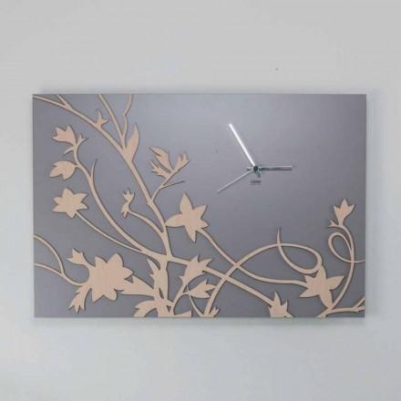 Vægur i moderne grå rektangulært design i dekoreret træ - Gallium