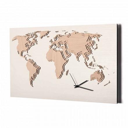 Vægur af træ med dekoration af verdenskortet lavet i Italien - Mappo