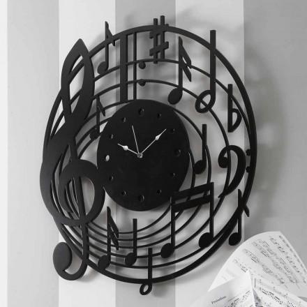 Moderne design rund sort vægur i dekoreret træ - musik