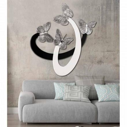 Designer væg ur elfenben / sort håndlavet i Italien Zenia