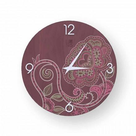 Dolo dekoreret træ ur, moderne design, lavet i Italien