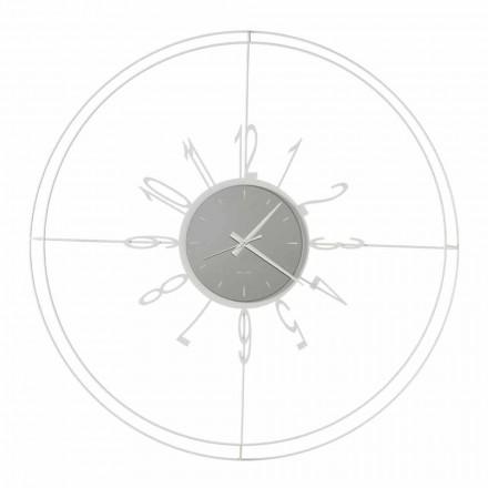 Rundt vægur i hvid, sort eller bronzejern fremstillet i Italien - kompas