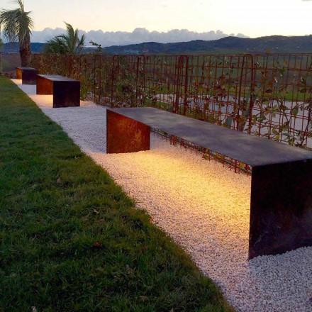 Håndlavet udendørs bænk i stål med LED-lys fremstillet i Italien - Magdalena