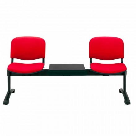 Bænk til venteværelse 2 sæder i væv, økolæder eller bøg - Carmela