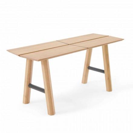 Moderne designbænk i asketræ med fineret sæde - Andria