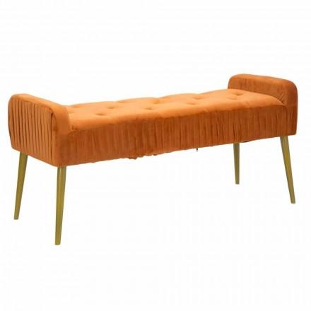 Moderne rustfarvet rektangulær bænk i stof og træ - Zack