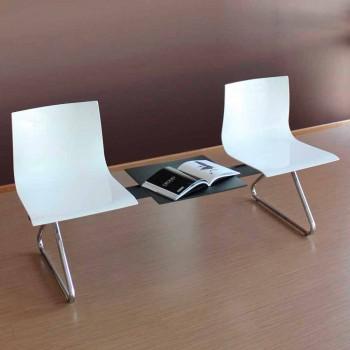 2 -personers kontorbænk med sofabord i stål og farvet teknopolymer - Verenza