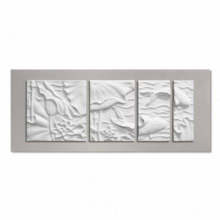 Dekorativt vægpanel Moderne design hvid og grå keramik - Giappoko