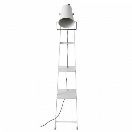 Stue gulvlampe i hvid eller mat sort metal med hylder - Butler