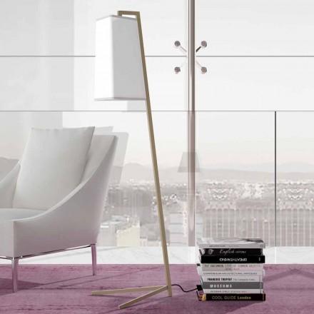 Metal gulvlampe med moderne hvid bomuldsskærm Lavet i Italien - Barton