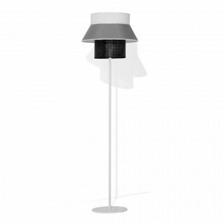 Moderne gulvlampe i metal og lampeskærm i bomuld og rotting Made in Italy - Sailor