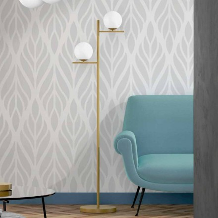 Moderne gulvlampe i metal messingfinish og opalglas fremstillet i Italien - Carima