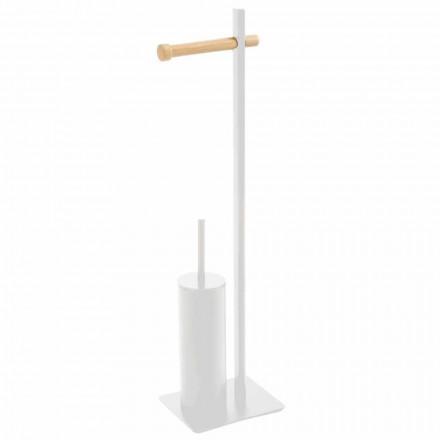 Toiletbørsteholder og designpapir i Zelbio metal og træ