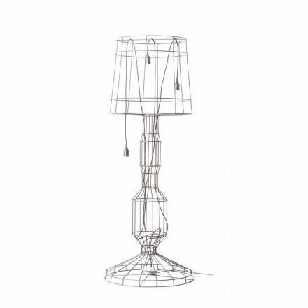 Stue gulvlampe 3 lys i hvidt eller naturligt metal Minimal stil - Styling