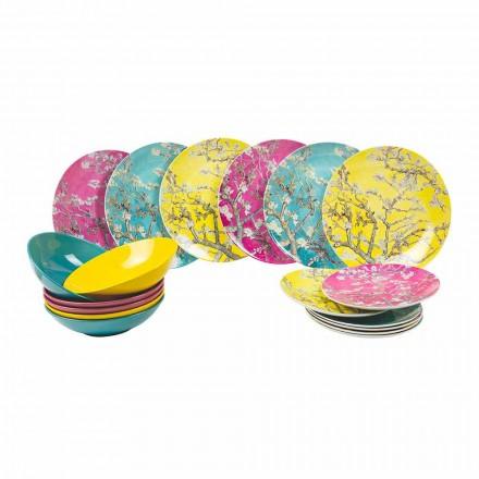 Farvede porcelæns- og stentøjsplader Moderne bordservice 18 stykker - Nagoya