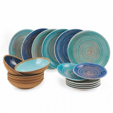 Farvede og moderne plader 18 stykker i stentøj komplet bordservice - Egadi