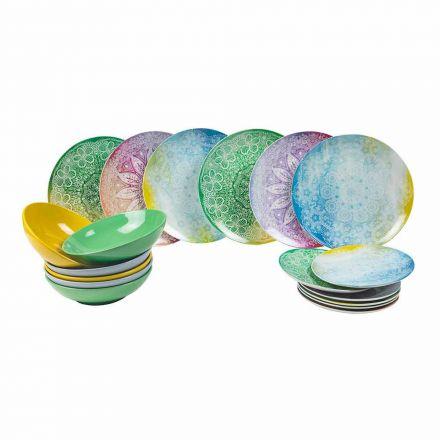 Farvede retter i porcelæn 18 stykker serveringsbord - Ipanema