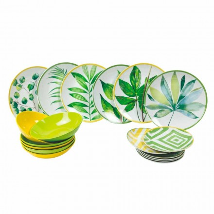 Farvede plader i porcelæn og Gres moderne service komplet 18 stykker - Albore