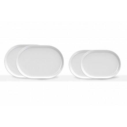 Moderne design hvide ovale serveringsplader i porcelæn 4 stykker - Arktis