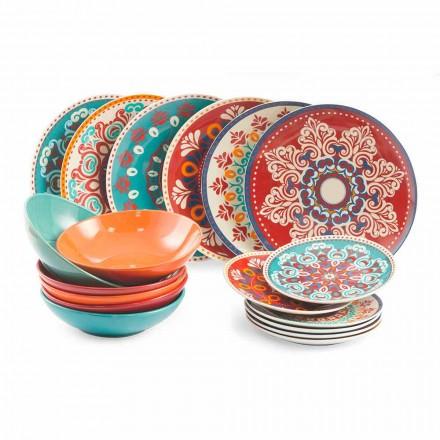 Etniske retter 18 stykker farvet porcelæn og stentøjsserviceservice - Persien