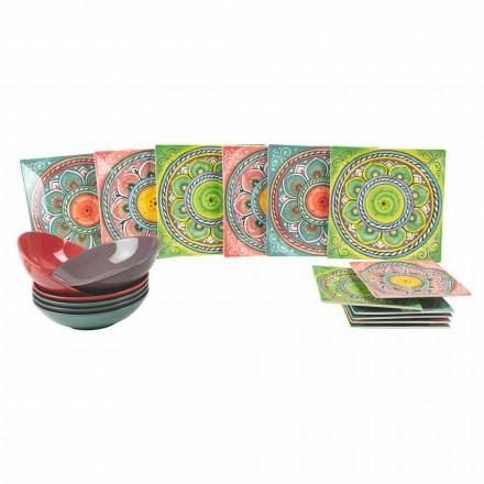 Firkantede, etniske plader i porcelæn og stentøjsservice 18 stykker - kanarisk