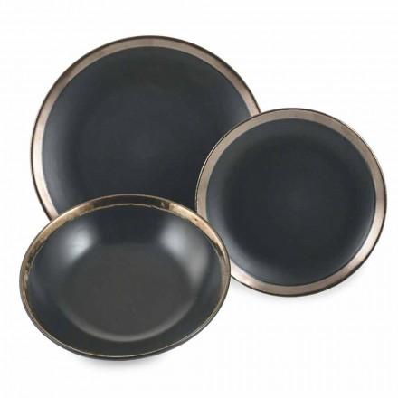 Sort og guld stentøjs-tallerkenes servis sæt 18 stykker - Oronero