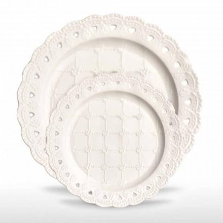 Foretrukne plade 12 stykker i hvidt porcelænshånd dekoreret - Rafiki