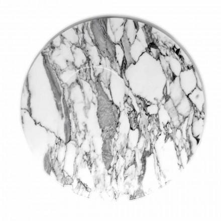Rund serveringsplade i hvid Carrara marmor fremstillet i Italien - Kamil