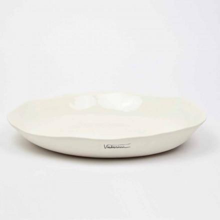 Italiensk luksus hvid porcelæn rund serveringsplade - Arcimaesta