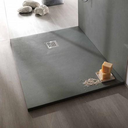Brusebad 120x90 moderne design i harpiks betoneffektfinish - Cupio