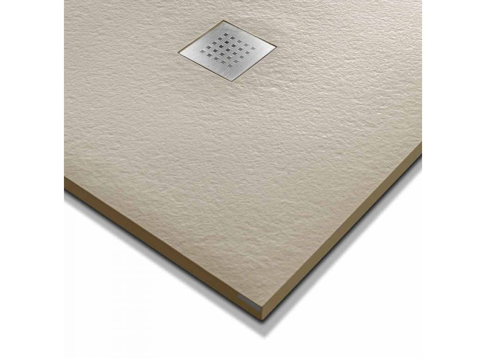 120x90 brusebad i stenharpiks med stålrist - Domio