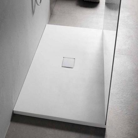 Brusebad 160x80 cm i hvid harpiks med afløb og betræk - Estimo