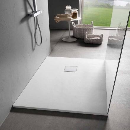 Brusebad 90x70 i hvid veloureffektharpiks med afløbsdæksel - Estimo