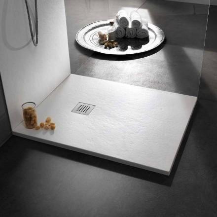 Moderne brusebad 90x80 i harpikseffekt sten og stål - Domio