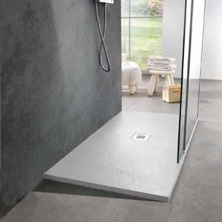 Hvid harpiks brusebad 140x70 med stålrist og afløb - Sommo