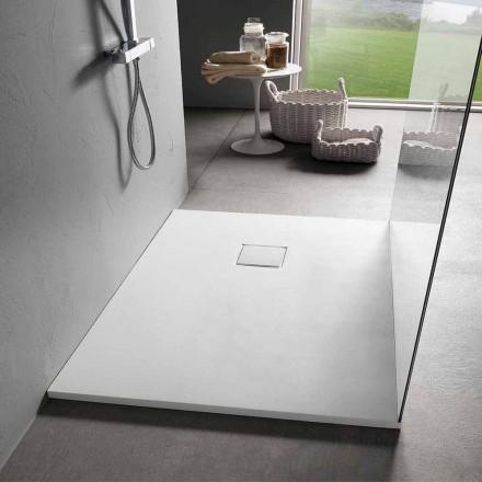 Hvid velour effekt harpiks brusebad 100x70 med afløbsdæksel - Estimo