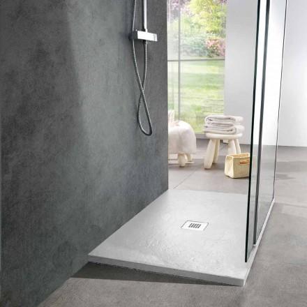 Moderne brusebad 90x70 i hvid harpiks skifereffekt - Sommo