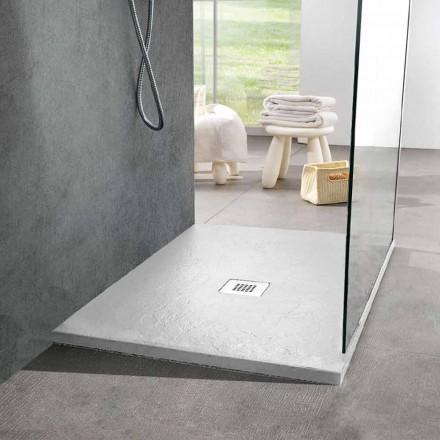 Moderne firkantet brusebad 90x90 i hvid harpiks skifereffekt - Sommo